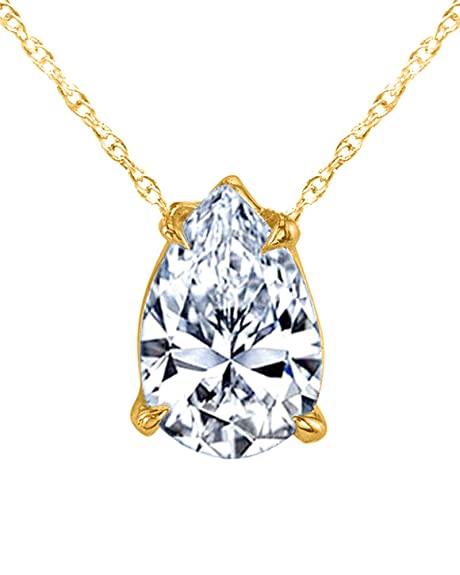 6476548922a wishrocks Mothers Gift 14K Yellow Gold Over Sterling Silver Pear Cut 4  Prong Set Solitaire Pendant Necklace: Amazon.ca: Jewelry