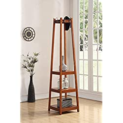 Roundhill Furniture 3454WA Vassen Coat Rack with 3-Tier Storage Shelves Finish, Walnut