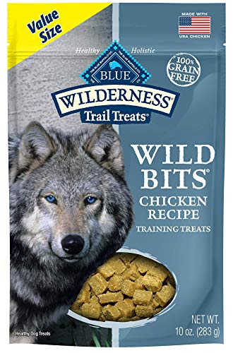 - Blue Buffalo Wilderness Trail Treats Wild Bits Grain Free Soft-Moist Training Dog Treats, Chicken Recipe 10-oz bag