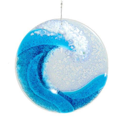 Modern Artisans Ocean Wave Fused Glass Sun Catcher Handmade in USA