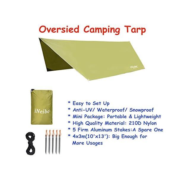 51RvE5Ts5PL iNeibo Tarp 3x4 Wasserdicht Zeltplane Sonnenschutz Regenschutz mit 5 Zeltheringe und 6 Lange Schnüre Camping Zubehör…