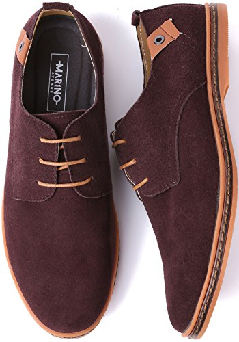 Marino Suede Oxford Dress Shoes for Men - Business Casual Shoes - Classic Tuxedo Mens Shoes Dark Brown vOg8k