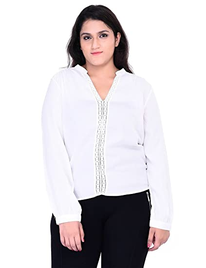 bf468cb9efaa9f oxolloxo Plus Size Women V Neck Off White Top Long Sleeves  Amazon.in   Clothing   Accessories