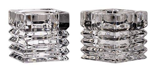 (Barski European Quality - Set of 2 - Crystal - Reversible - Candlestick/Tealight Candleholder - 2