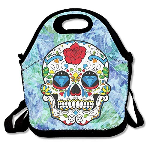 Avagea Red Colorful Sugar Skull Rose Eyes Skull Head Halloween Day of Dead Lunch Bag/Lunch Box/Lunch Tote Handbag Lunchbox Food Container Tote Cooler Warm Pouch for School Work Office