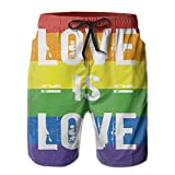 Beach Shorts Mens Love Is Love Gay Rainbow Flag Art Summer Quick-Drying Swim Trunks Cargo Shorts