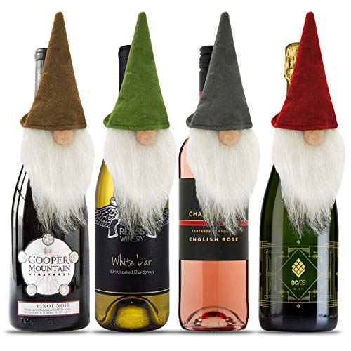 Christmas Wine Bottle Decorations - 4 Gnome Wine Bottle Toppers | Cute Wine Topper - Christmas Gnomes Decor, Holiday Hostess Gifts | Christmas Wine Gifts Holiday Gnomes Decor (Christmas Gifts For Hostess)