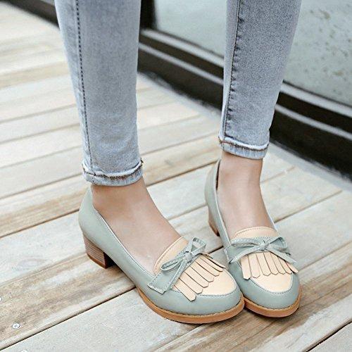 Show Shine Moda Para Mujer Sweet Assorted Colors Bows Borlas Mid Chunky Heel Zapatos Light Blue