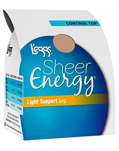 Hot Leggs Womens Sheer Energy Light Support Leg Control Top, Sheer Toe Pantyhose 4-Pack free shipping