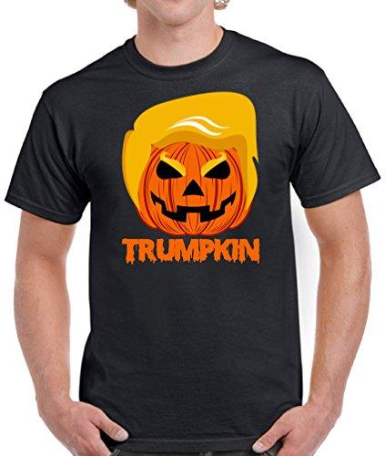 Vizor Men's Trumpkin T-shirts Shirts Tops Pumpkin Trump Halloween Costume Black (Joe Biden Halloween Costume)
