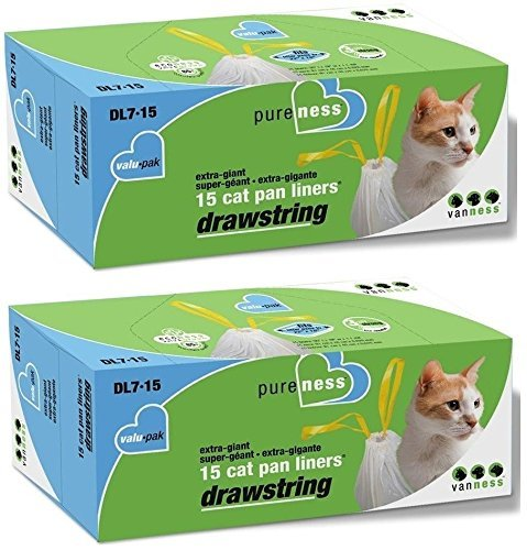 Pure-Ness Drawstring Cat Pan Liners,Pack of 2 (15-Count X 2) Drawstring Cat Pan Liners