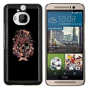 TECHCASE---Cubierta de la caja de protección para la piel dura ** HTC One M9+ M9 Plus ** --Bandera pirata del cráneo de