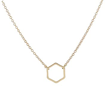 Amazoncom Adecco LLC Gold Hexagon Necklace Delicate gold