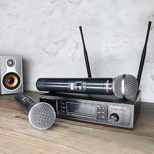 Phenyx Pro Dual UHF Wireless Microphone System, Metal Receiver and Handheld Mics, 80 Channels, Up to 250ft Professional Operation, 16 Hours Use, Ideal For Church, Karaoke Party(PTU-71) by Phenyx Pro (Image #1)