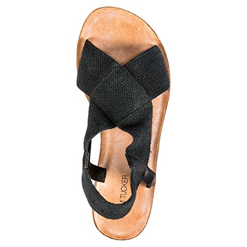 Adam Slingback Tucker Women Canvas Elastic Open Fabric Sandal 15 Black Amora Toe wawrB4q