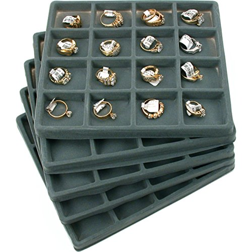 Jewellery Tray - FindingKing 5 Gray 16 Slot 1/2 Size Jewelry Display Tray Inserts New
