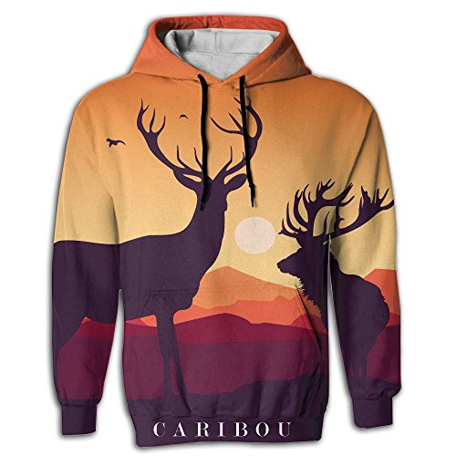 Caribou Sunset Figure Men's College Fashion Pullover Hooded Sweatshirt