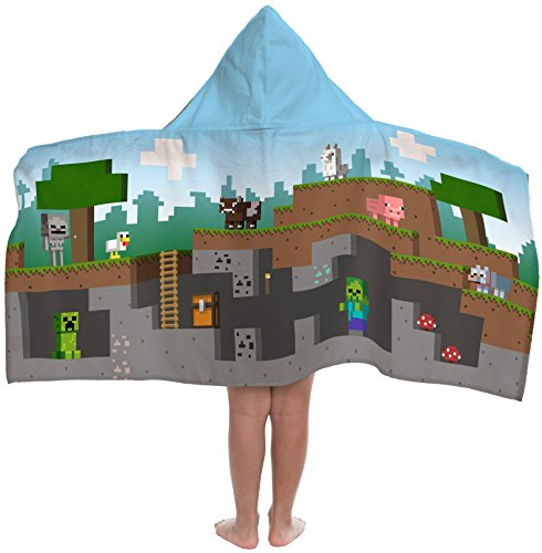 Minecraft Overworld Adventure Super Soft & Absorbent Kids Hooded Bath/Pool/Beach Towel, Featuring Creeper - Fade Resistant Cotton Terry Towel, 22.5 Inch x 51 Inch (Official Minecraft Product)