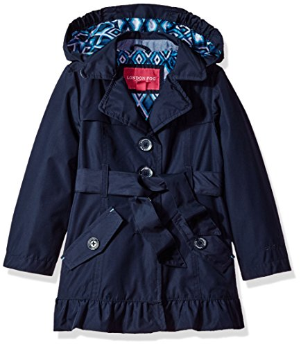 London Fog Little Girls' Single Breasted Trench Coat, Navy, 5/6