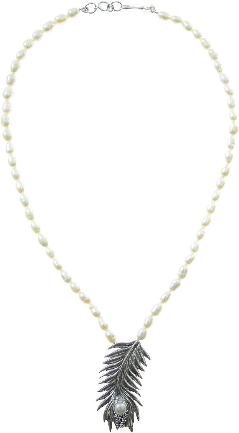 TIBETAN SILVER Real Naturales Perlas Piedra Preciosa Collares auténtico Plata de Ley 925 Collar con Colgante para Mujeres, Moderno diseñador Moda Regalo Collar joyería, Hecha a Mano Artesanos