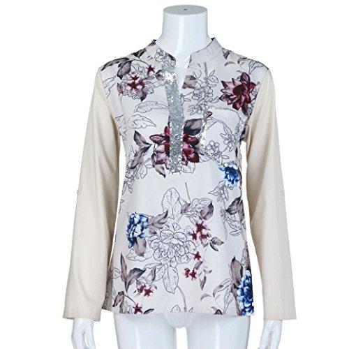 V Tunica Scollo Camicie Floreale Donna Paillettes Khaki In A Con Lunghe Maniche Dragon868 wSFCqPxzz