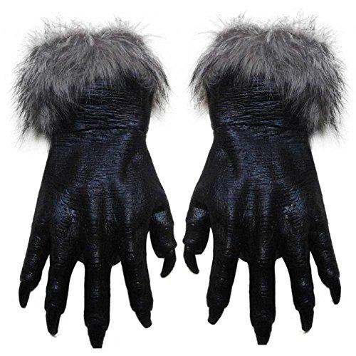 [Genluna Werewolf Wolf Paws Gloves Creepy Hairy Gloves for Halloween Party Cosplay Onesize Black] (Black Werewolf Gloves)
