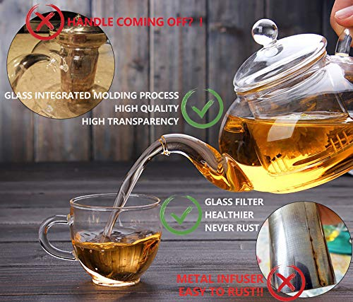 Clear Glass Teapot Set with Infuser 4 glass Tea Cups 4 Glass Saucers 1 Heart Shape Crystal Glass Warmer Base,Glass Tea Maker Teapot with Filtering, Blooming Loose Leaf tea pot by Tortoise IT (Image #2)
