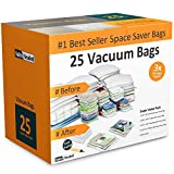 vacuum bag sealer for clothes - Home-Complete Vacuum Storage Bag Bundle - 25 Space Saver Bags and Free Travel Pump - Save Closet Space with Airtight Bags