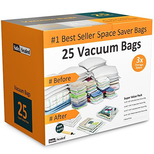 - Home-Complete 25 Vacuum Storage Bags-Space Saving Air Tight Compression-Shrink Down Closet Clutter, Store, Organize Clothes, Linens, Seasonal Items