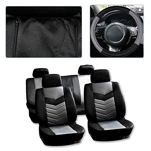 ck/Gray Car Seat Cover w/Headrest Covers/Steering Wheel Cover/Shoulder Pads 11PCS Breathable Embossed Cloth Retractable Auto Seat Cover Replacement for Most Cars ()