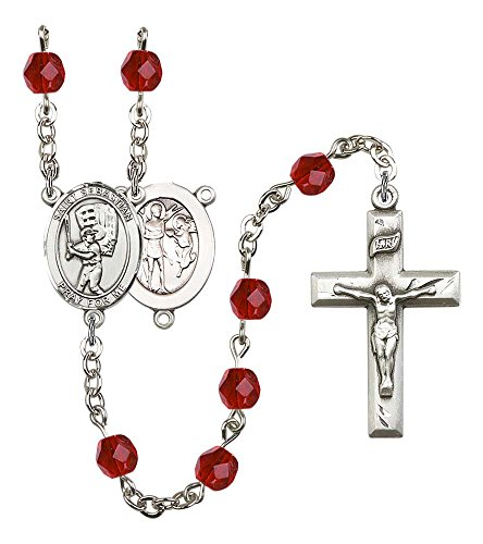 (Silver Plate Rosary features 6mm Ruby Fire Polished beads. The Crucifix measures 1 3/8 x 3/4. The centerpiece features a St. Sebastian / Baseball medal.)