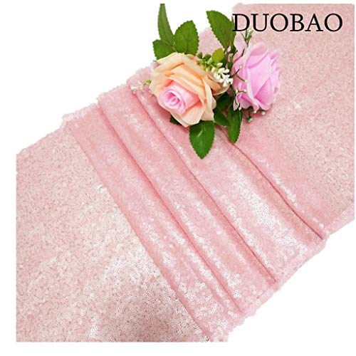 (DUOBAO 12x72-Inch Sequin Table Runner Pink 5 Packs Sweet 16 Party Supplies Wedding Sequence Table Runners Pack of 5)