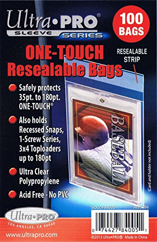 (5 Ultra Pro Magnetic One Touch Resealable Bag Packs 84005 500 Total (5 100ct Packs) - For Magnetic Holders)