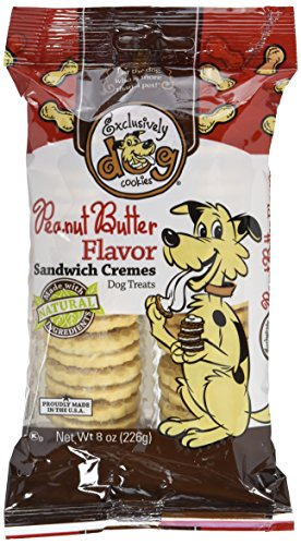 Sandwich Creme Dog Cookies - Exclusively Dog Sandwich Cremes-Peanut Butter Flavor, 8-Ounce Package
