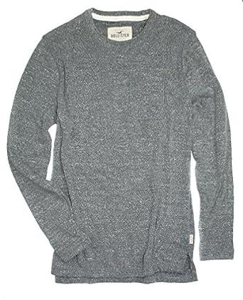 Hollister Men's Long Sleeve Textured Terry Crew Pocket T-Shirt ...