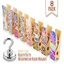 Treats&Smiles 9-PACK Fridge Magnets, Refrigerator Magnets, Office Magnet, Kitchen Magnets. 8 Colorful Artistic Clothespin Magnetic Clips + 1 Strong Neodymium Magnetic Hook.