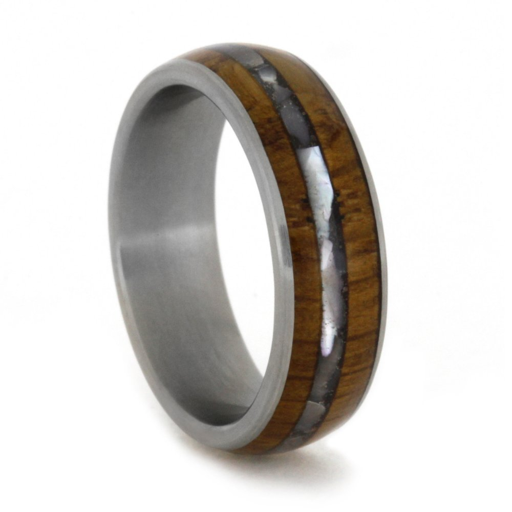 Mother of Pearl and Wood 6mm Comfort-Fit Matte Titanium Band, Size 7.25