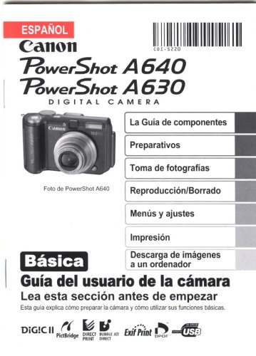 Canon PowerShot A640 PowerShot A630 Basic Camera User Guide (Spanish)