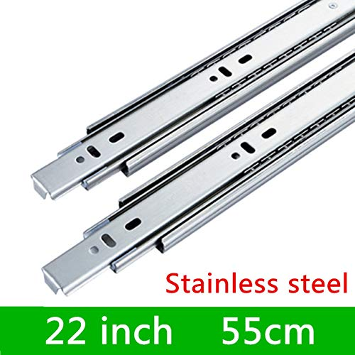 22 inches 1 Pair HG45VT Stainless Steel Three Sections Drawer Track Slide Guide Rail Accessories for Furniture Slide Hardware Fittings  (color  14 inches)