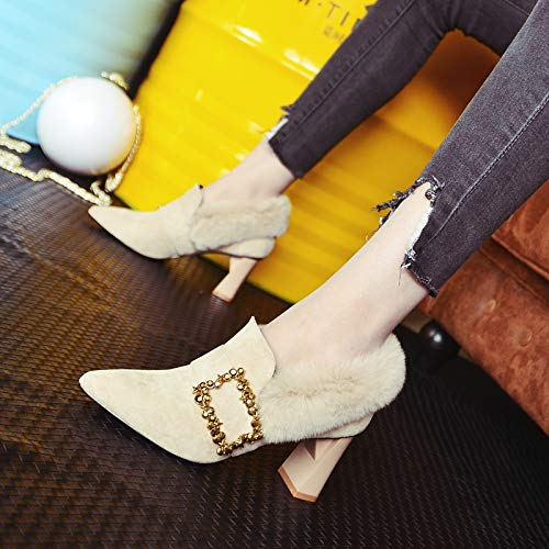 KPHY Damenschuhe Draußen Tragen 100 Sätze Absatz 7 7 7 cm Hohe Spitze Dicke Sohle EIN Pedal Flanell Einzelne Schuhe a90f79