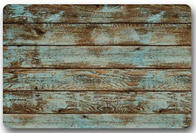 "Rustic Old Barn Wood Door Mats Indoor Bathroom Kitchen Decor Rug Mat Welcome Doormat - 23.6""(L) x 15.7""(W)"