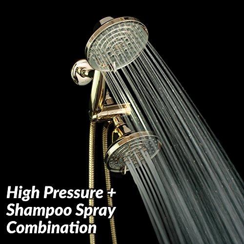 Brass Handheld (Handheld & Fixed Brass Shower Head Combo | Dual Showerhead System with 6 Pressure Settings | Anti-Clog, High Pressure Showerheads | 3-Way Premium Shower Heads Set | Wall Mounted Shower Head and Wand)