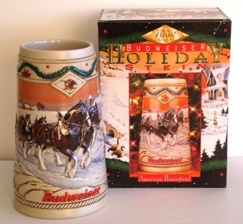BUDWEISER 1996 HOLIDAY BEER STEIN, AMERICAN HOMSTEAD by ()