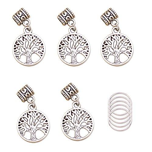 Pin Tibetan Hair Silver (Baba 5 pieces Silver Viking Pohon Kehidupan Yggdrasil Braiding DIY Accessory Dread lock Hair Beads Hair Braid Pins Rings Cuff Clips Tibetan Jewelry Decor)