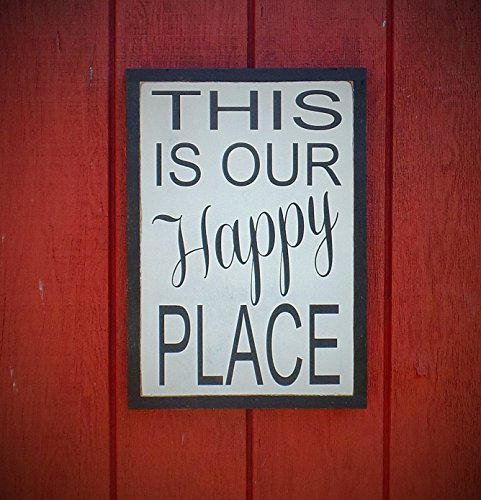 This is Our Happy Place Wood Sign Inspirational Word Art Hand Painted Customizable Cottage Cabin Beach House Wooden Plaque by Leap of Faith Sign Shop
