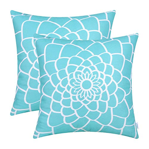 CaliTime Pack of 2 Soft Canvas Throw Pillow Covers Cases for Couch Sofa Home Decor Dahlia Floral Outline Both Sides Print 16 X 16 Inches Turquoise Blue (Couch Print Floral)
