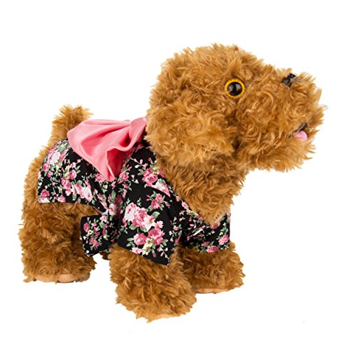 - CueCue Pet Floral Pet Kimono Dress with Bow, Black/Pink, X-Small