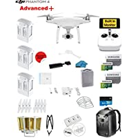 DJI Phantom 4 ADVANCED Plus Quadcopter Drone with 1-inch 20MP 4K Camera KIT + 3 Total DJI Batteries + 2 64GB Micro SD Cards + Reader + Guards + Range Extender + Charging Hub + Harness + Backpack