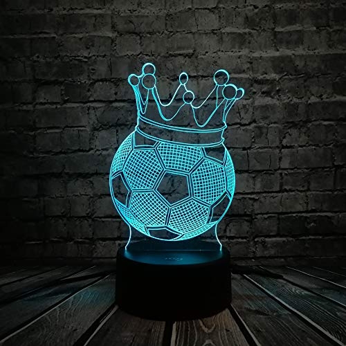 (Aetd Desk Lamps 2019 Creative Football Imperial Crown Throne 3D Led USB Lamp First Prize Sporting Boy Gift for Soccer Player Colorful Bulb)