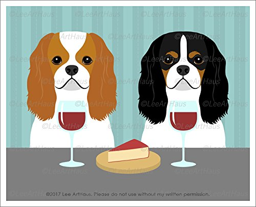 393d - Two Cavalier King Charles Spaniel Dogs Drinking Wine And Eating Gouda Cheese Unframed Wall Art Print By Lee Arthaus Picture